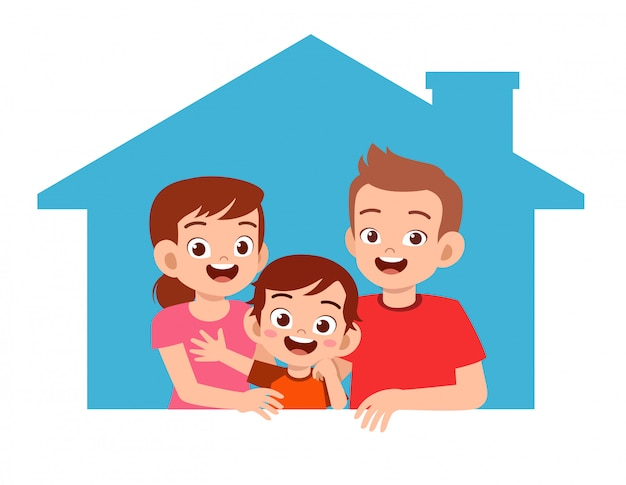 Happy cute kid boy with parent together Premium Vector
