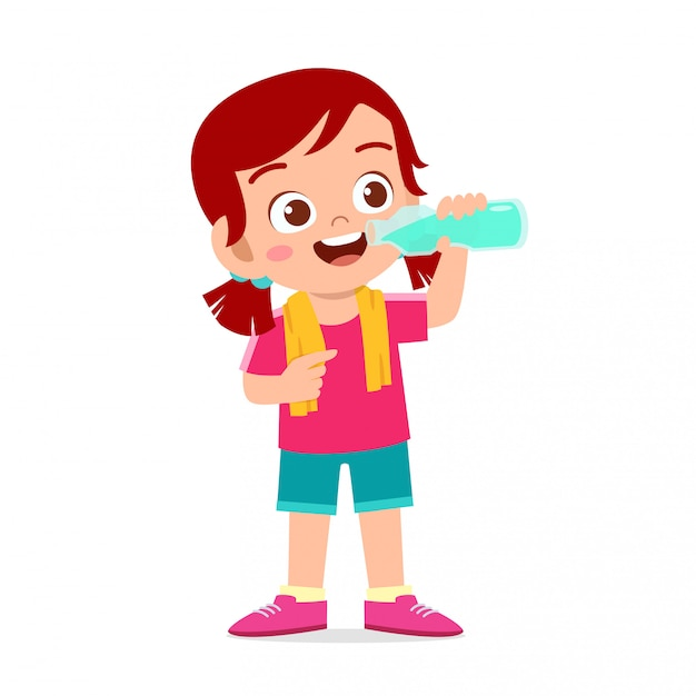 Happy cute kid girl drink water after sport Premium Vector