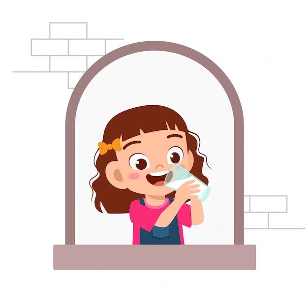 Happy cute kid girl expression on window Premium Vector
