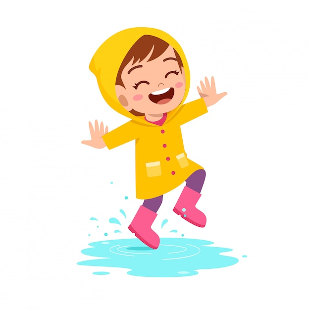 Happy cute kid girl play wear raincoat Premium Vector