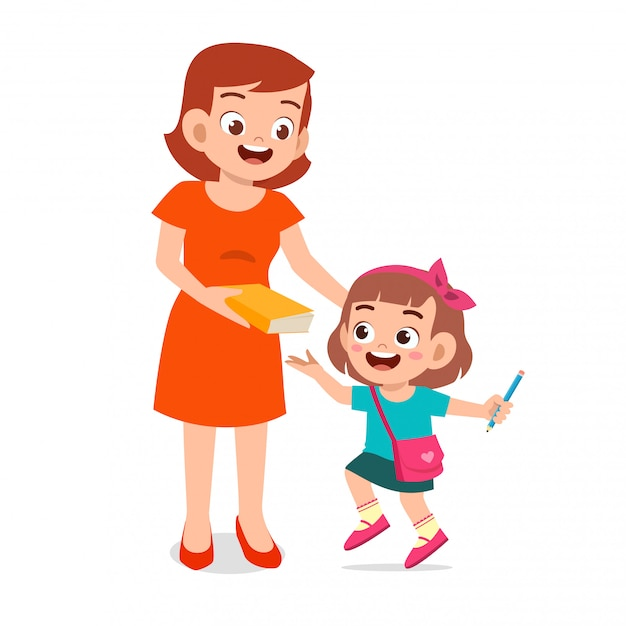 Happy cute kid girl prepare to go to school with mom Premium Vector