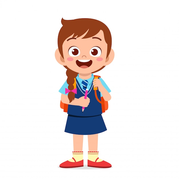 Happy cute kid girl ready to go to school Premium Vector