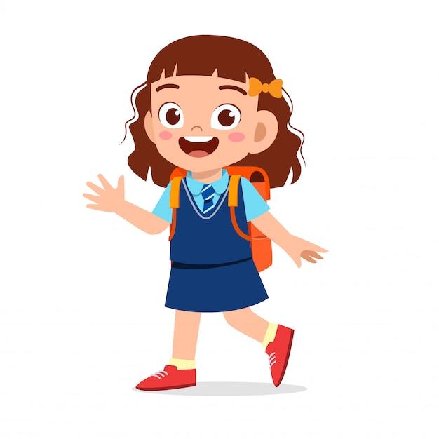 Happy cute kid girl ready to go to school Premium Vector