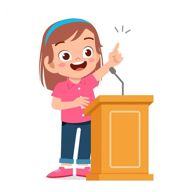 Happy cute kid girl speech on podium Premium Vector