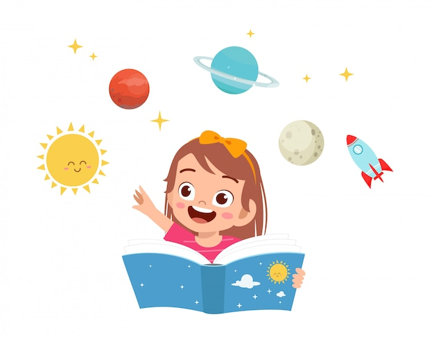 Happy cute kid girl study planet and science Premium Vector