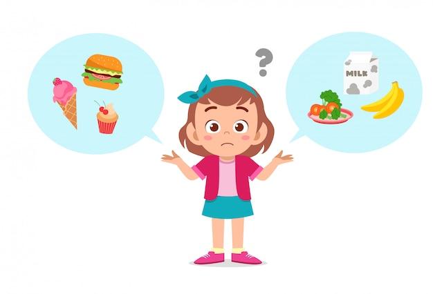 Happy cute kid girl think choose food | Premium Vector