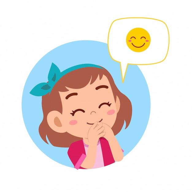 Happy cute kid girl with emoji expression Premium Vector