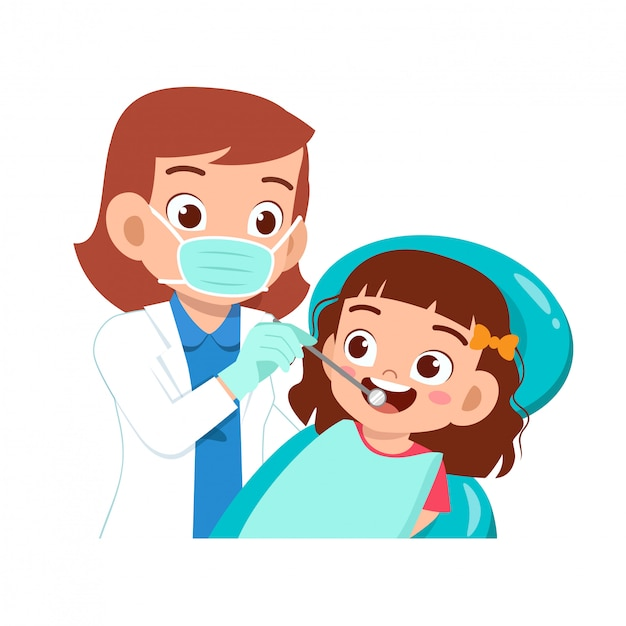 Happy cute kid go to dentist check Premium Vector