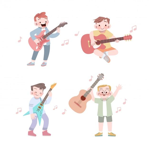 Happy cute kid play music guitar vector illustration set Premium Vector