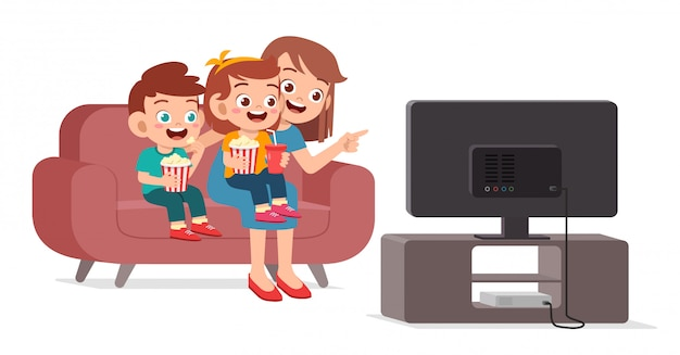 Happy cute kid watch tv with family together Premium Vector