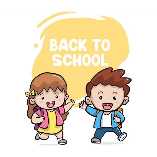 Счастливые милые дети мальчик и девочка обратно в школу Premium векторы