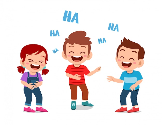 Happy cute kids boy and girl laugh together Premium Vector