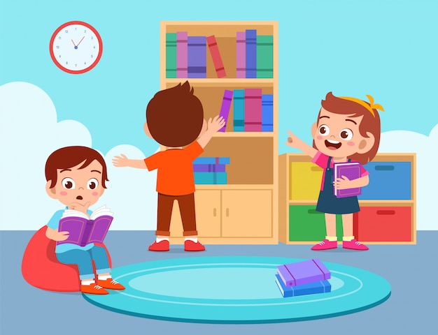 Happy cute kids boy and girl read at library Premium Vector