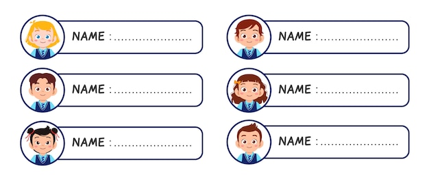 Happy cute kids girl and boy name tag Premium Vector