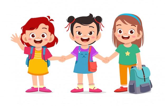 Happy cute kids girls ready to go to school Premium Vector