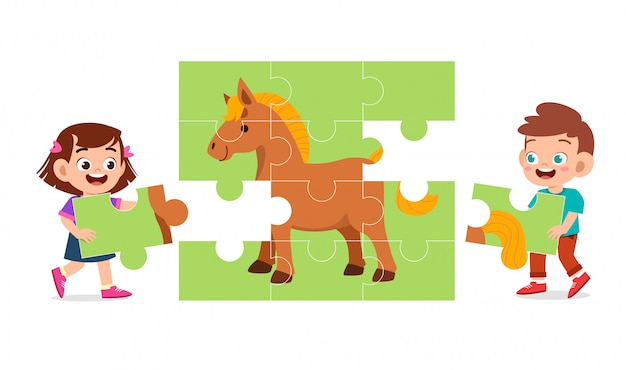Happy cute kids play solve puzzle together Premium Vector