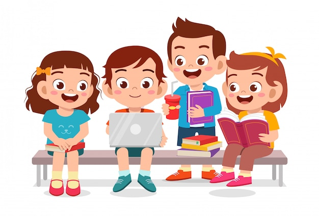 Happy cute kids reading book together | Premium Vector