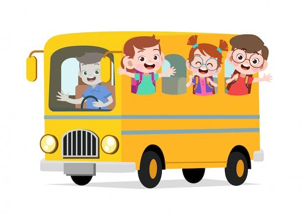 Happy cute kids ride bus to school Premium Vector