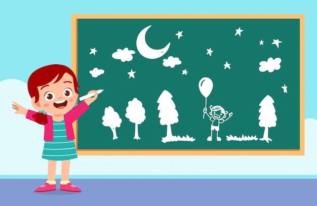 幸せなかわいい子供男の子と女の子が一緒に黒板にチョークで描く Premiumベクター