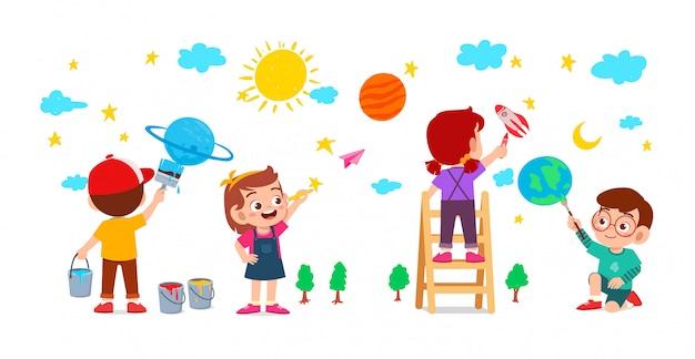 幸せなかわいい子供男の子と女の子が一緒に壁にペンキで描く Premiumベクター