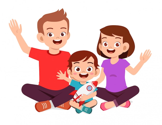 Happy Cute Little Kid Boy Sit With Mom And Dad Premium Vector