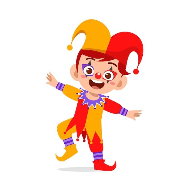 Happy cute little kid celebrate halloween wears clown costume Premium Vector
