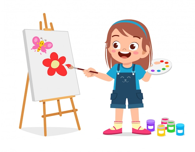 Happy cute little kid girl draw on canvas | Premium Vector