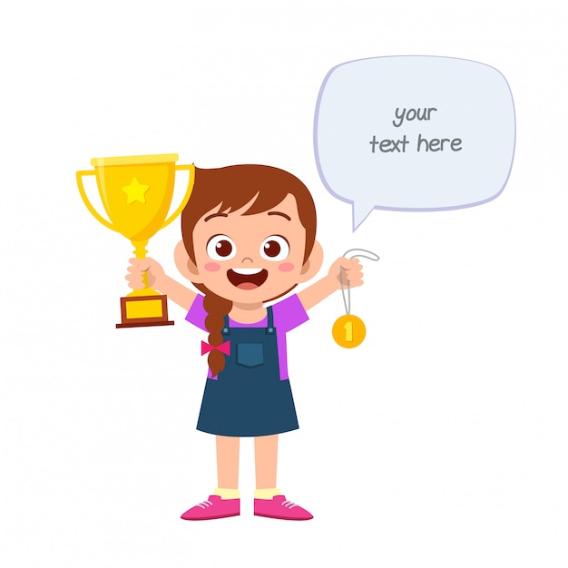 Happy cute little kid girl holding trophy Premium Vector