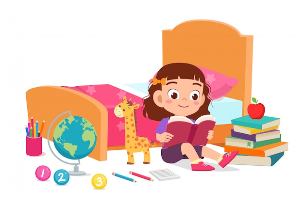 Happy cute little kid girl read book in bed room Free Vector