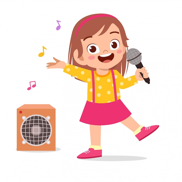 Happy cute little kid girl sing a song Premium Vector