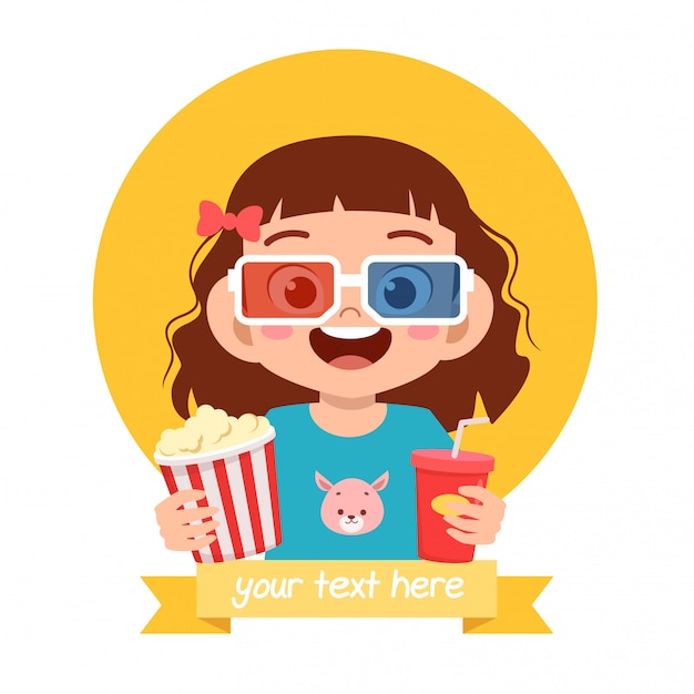 Happy cute little kid girl watch movie Free Vector