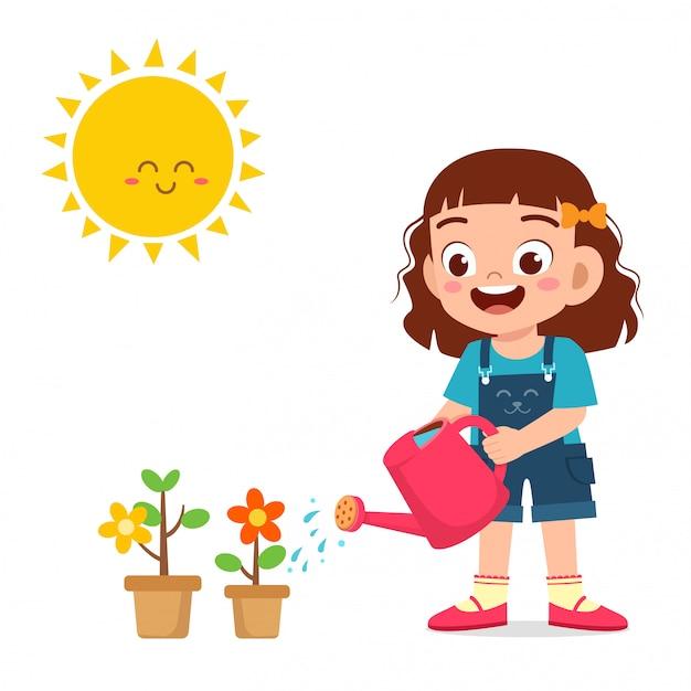 Happy cute little kid girl watering flower Free Vector