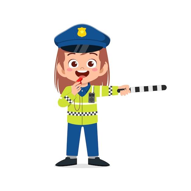경찰 제복을 입고 행복 한 귀여운 꼬마 소녀 트래픽을 관리 프리미엄 벡터