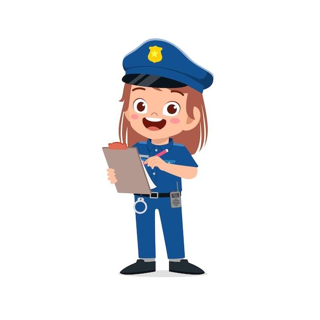 경찰 제복을 입고 행복 한 귀여운 꼬마 소녀 프리미엄 벡터