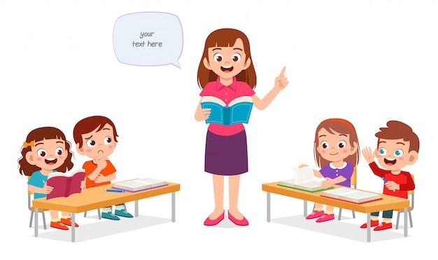 Счастливые милые маленькие дети мальчик и девочка учиться с учителем Premium векторы