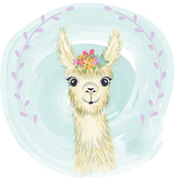 Happy cute little llama smiling Premium Vector
