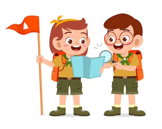 Happy cute little scout boy and girl do exploring Premium Vector