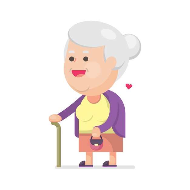 Happy cute old woman with bag Premium Vector