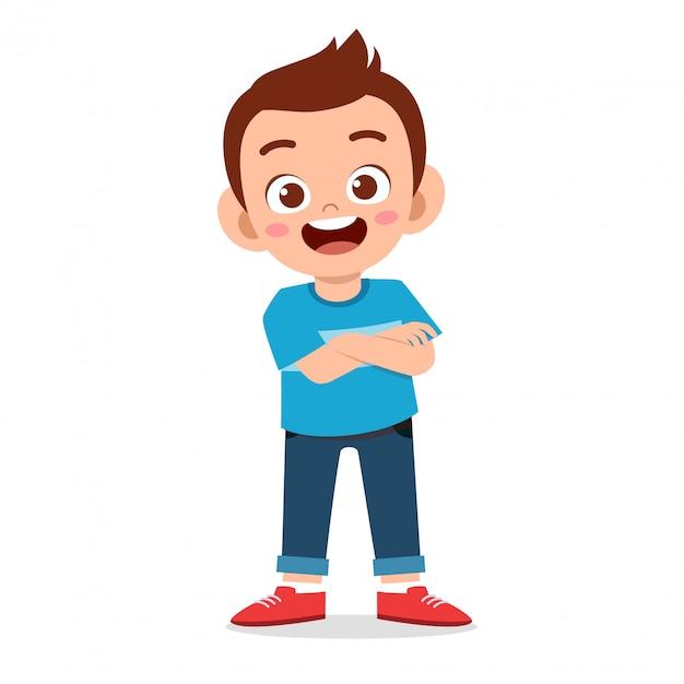 Happy cute smile boy crossed arms Premium Vector