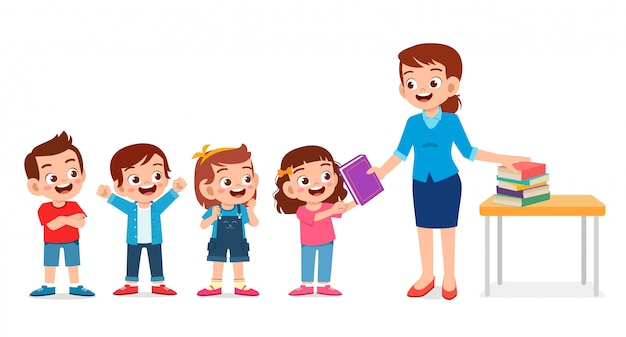 Happy cute teacher giving book to students Premium Vector