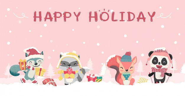 Happy cute wild animals in winter christmas costume flat   cartoon, idea for banner Premium Vector