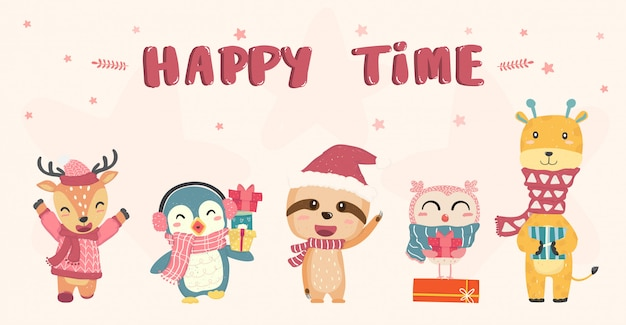 Happy cute wild animals in winter christmas costume flat   drawing, idea for banner Premium Vector