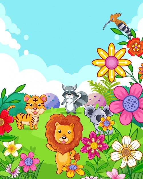 Happy cute wild animals with flowers playing in the garden Premium Vector
