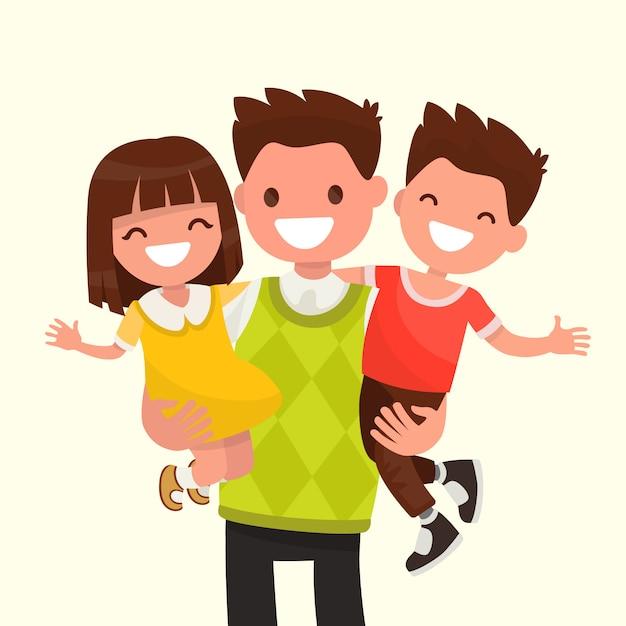 彼の息子と娘のイラストを保持している幸せなお父さん Premiumベクター