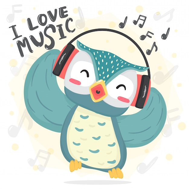 Happy dance blue owl listen music and sing song with headphone Premium Vector