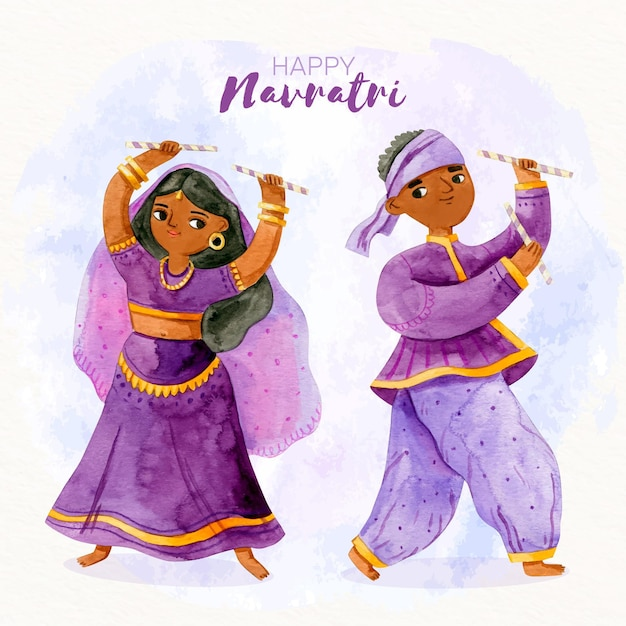 Happy dancersnavratri dandiya Free Vector