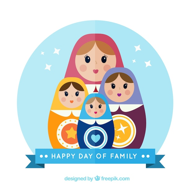Happy day of family with russian dolls