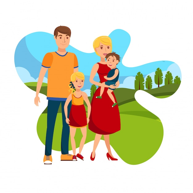 Happy day with family flat vector illustration Premium Vector