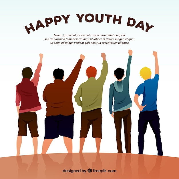 Happy day youth background with friends Free Vector