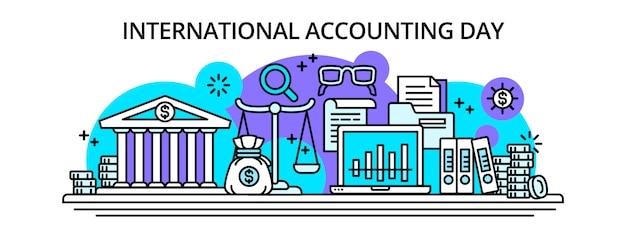 Международный бухгалтерский учет happy day баннер, стиль контура Premium векторы